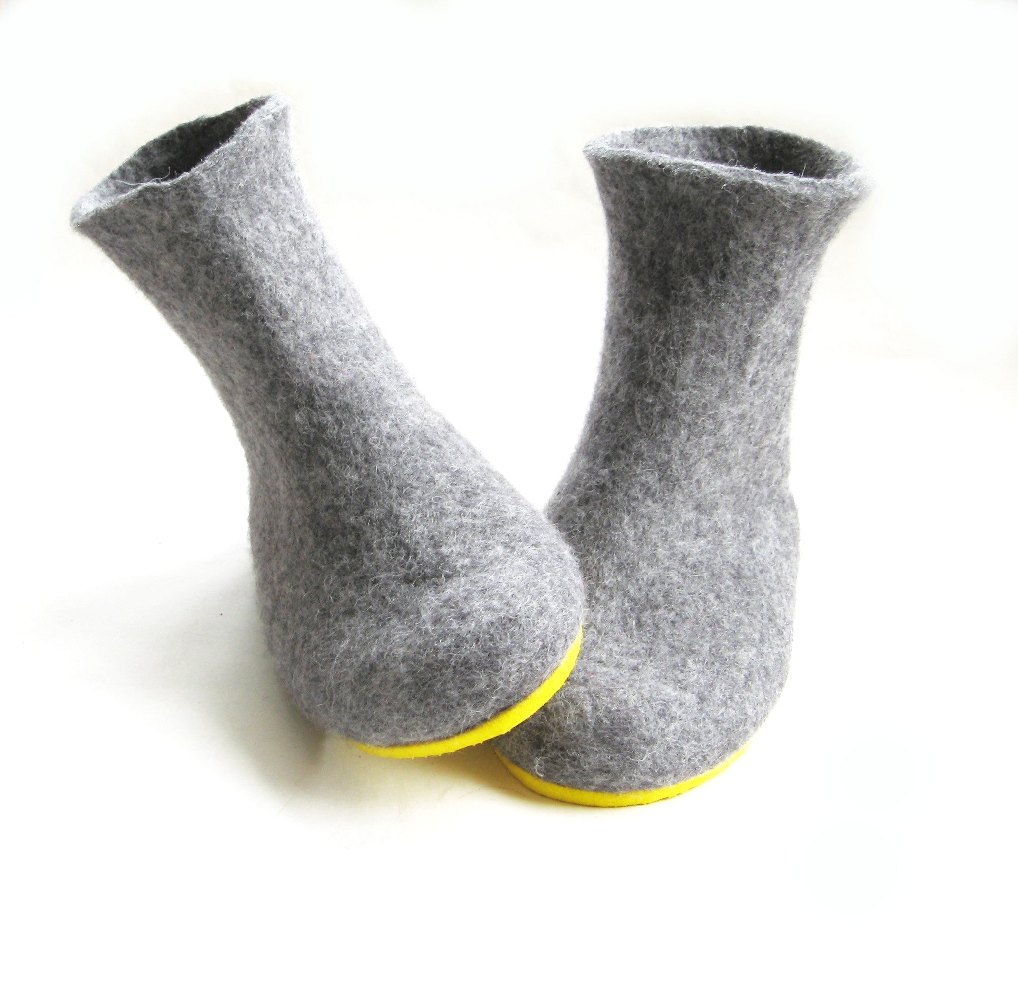 Womens Wool Felt Boots Grey Rubber Sole - Wool Walker  - 5