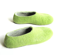 Mens Felt House Shoes Green Woods Contrast Sole - Wool Walker  - 2