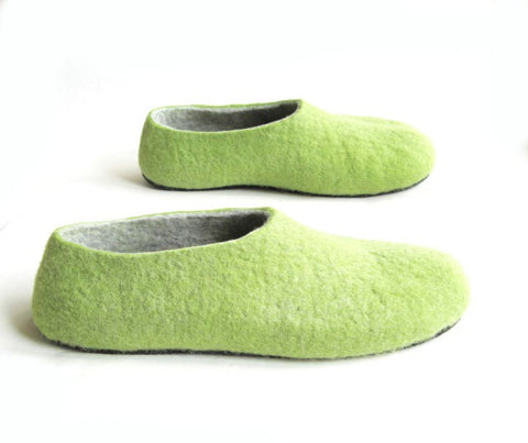 Mens Felt House Shoes Green Woods Contrast Sole