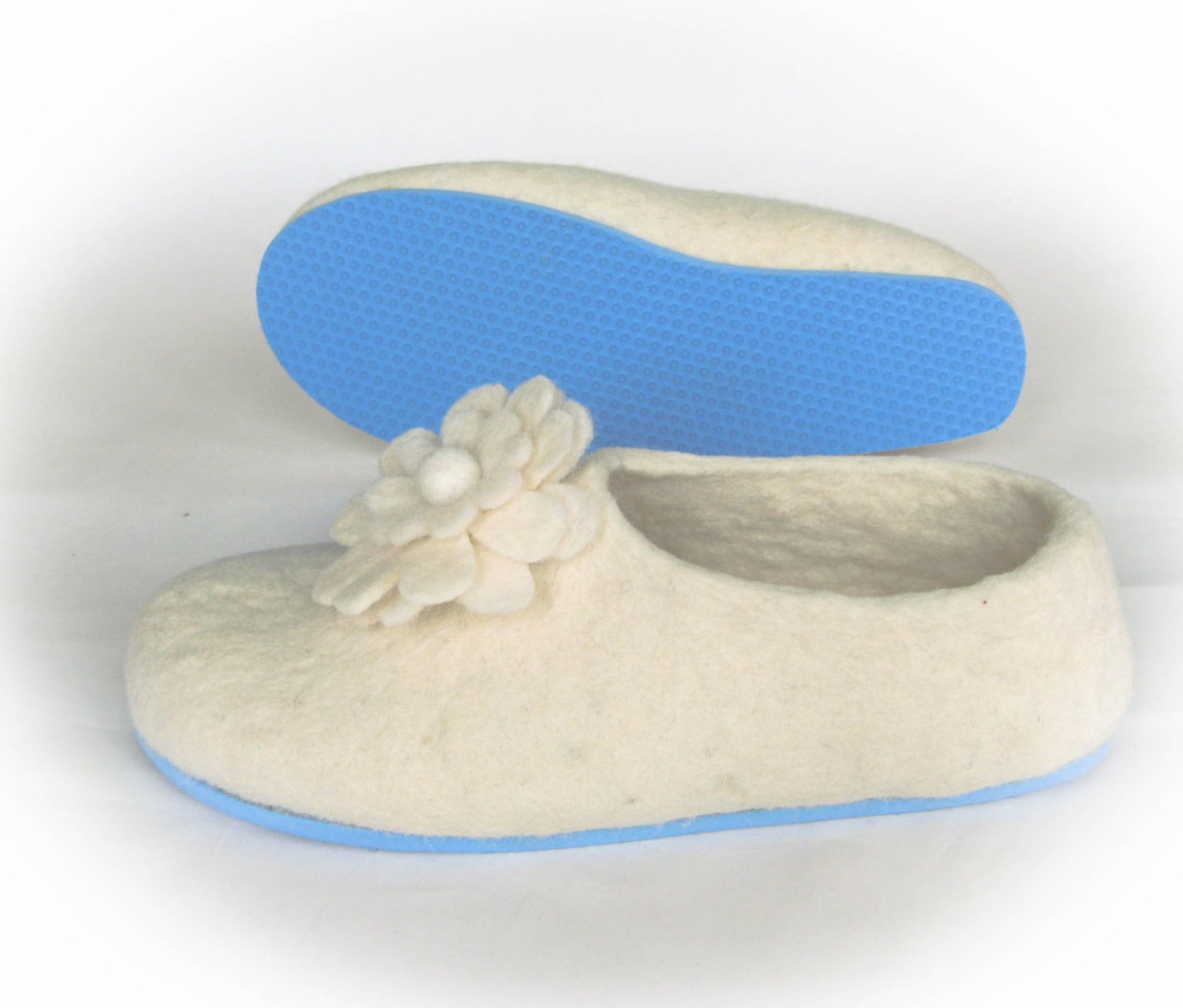 Womens Bridal Felt Slippers White Contrast Sole - Wool Walker  - 2