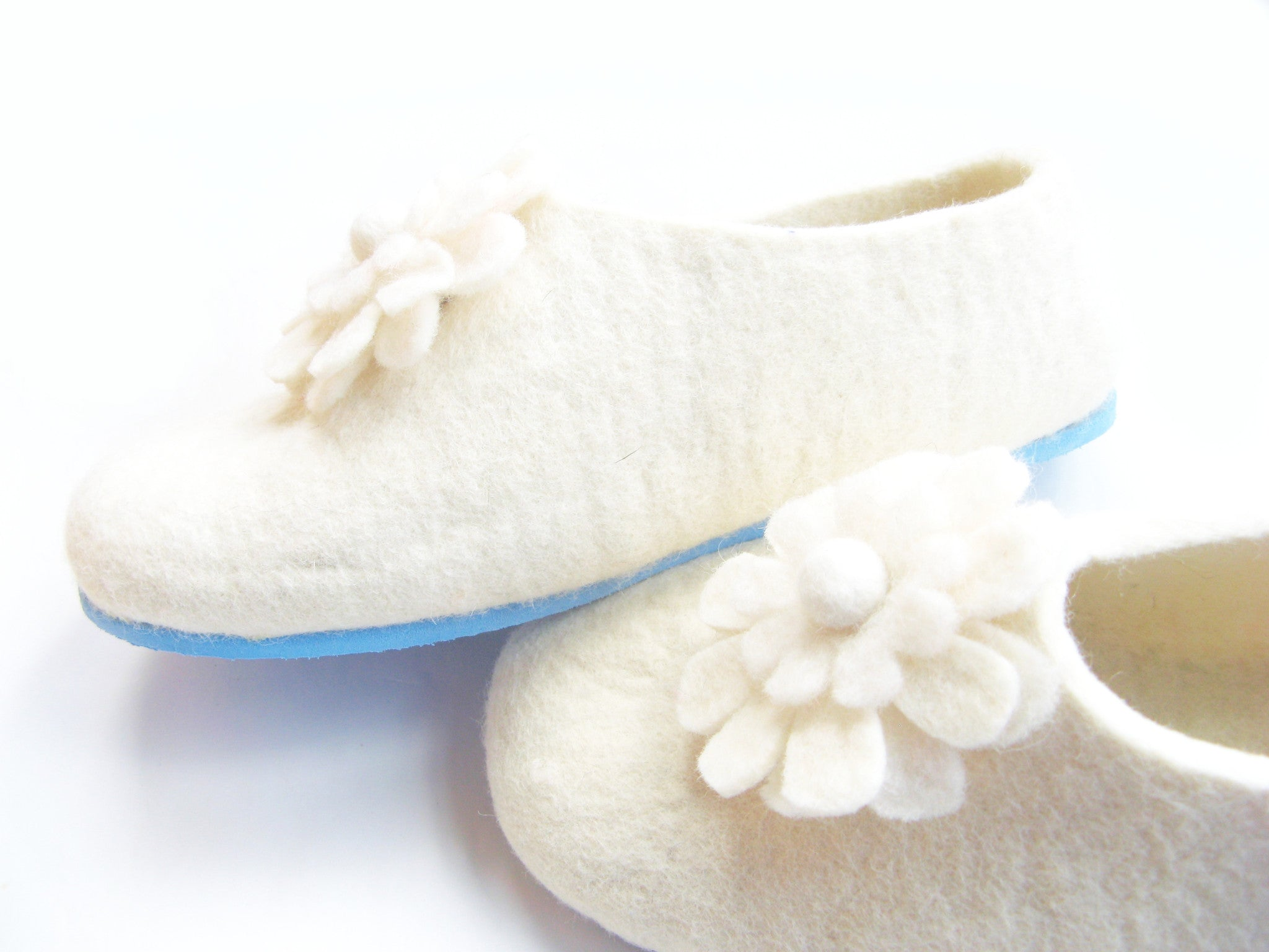 Womens Bridal Felt Slippers White Contrast Sole - Wool Walker  - 4