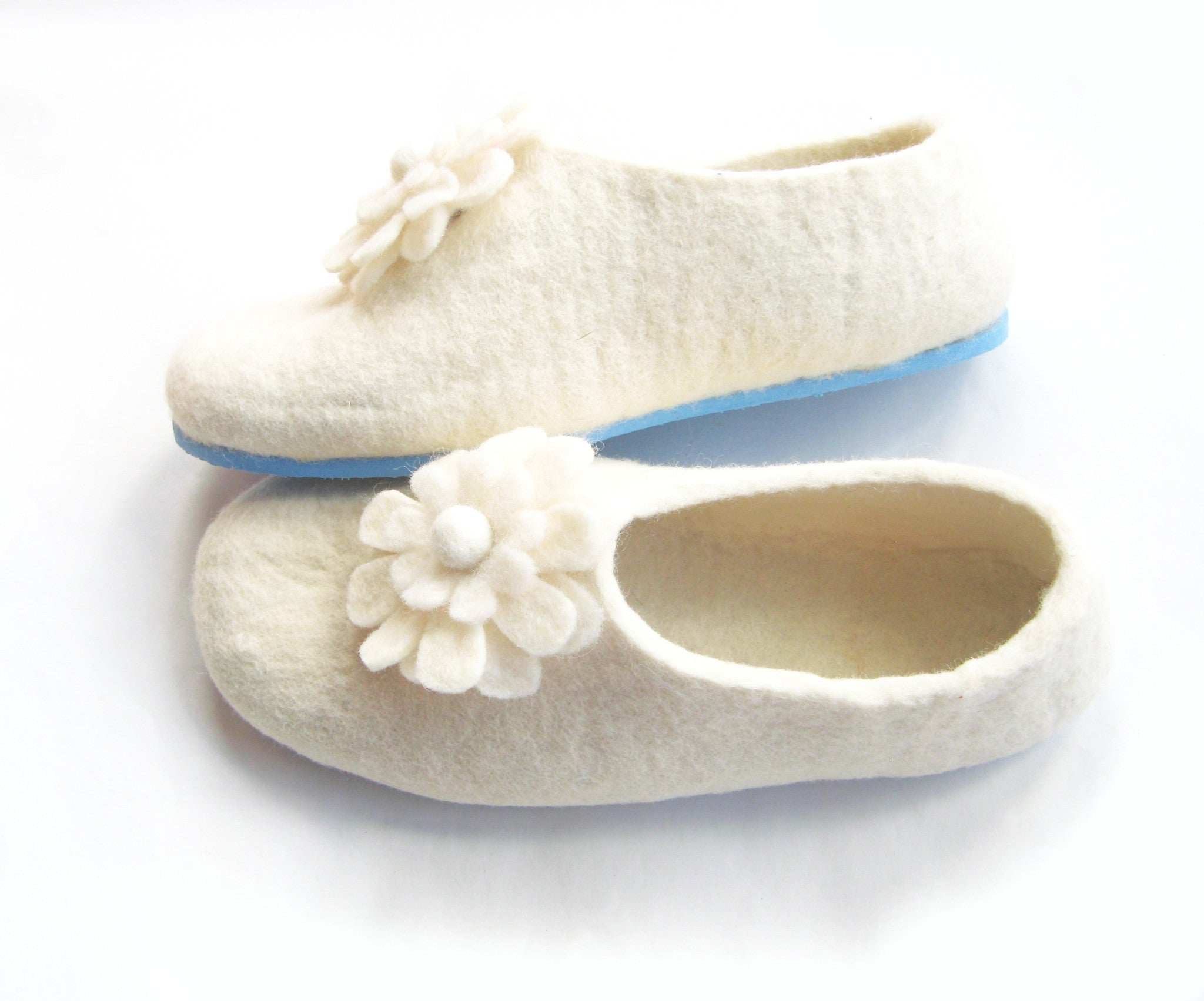 Womens Bridal Felt Slippers White Contrast Sole - Wool Walker  - 1