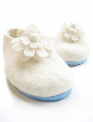 Womens Bridal Felt Slippers White Contrast Sole