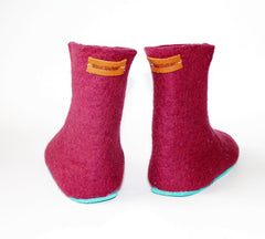Womens Felted Boots Maroon Contrast Sole - Wool Walker  - 3