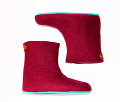 Womens Felted Boots Maroon Contrast Sole - Wool Walker  - 2