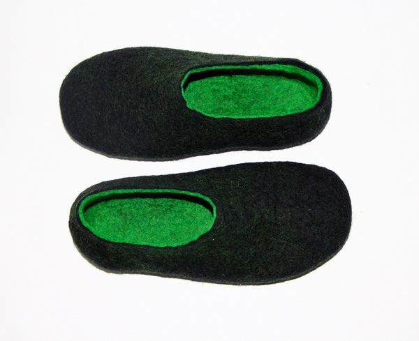 Mens Two Tone Felted Slippers Black Woods Indoors - Wool Walker  - 2