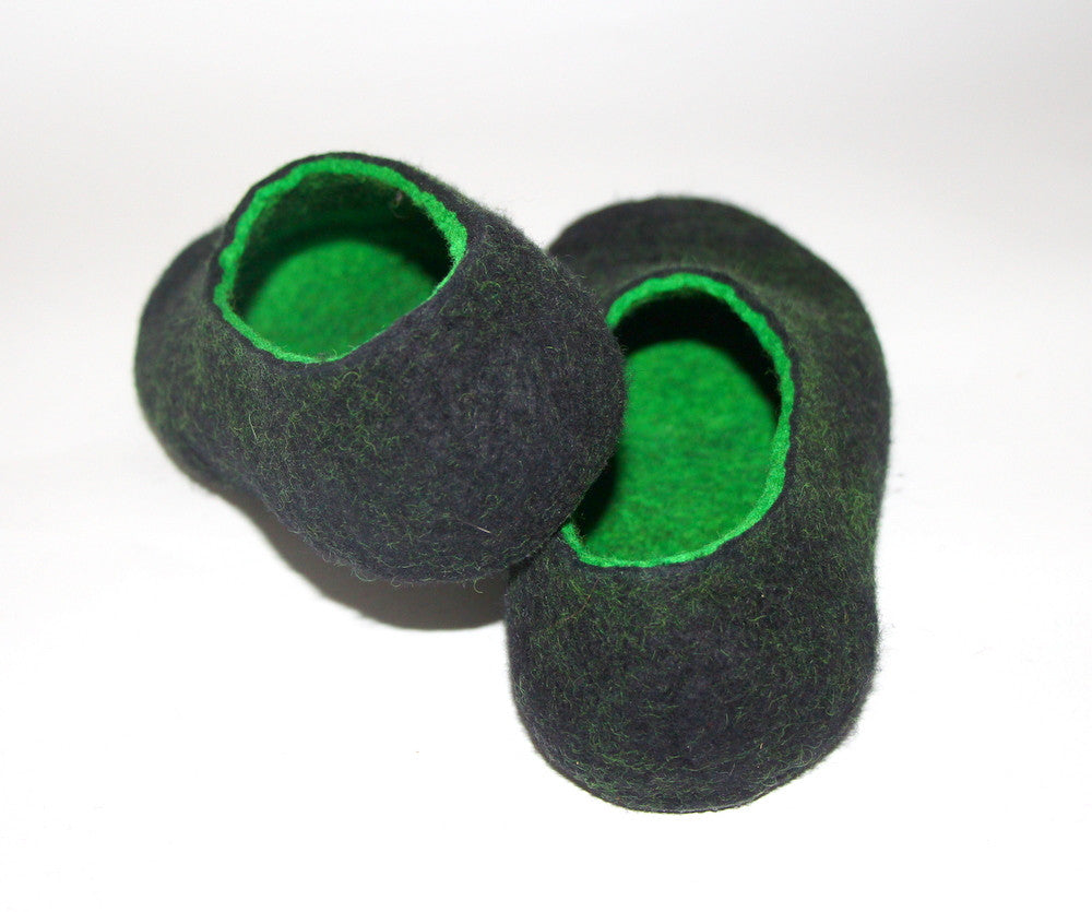 Mens Two Tone Felted Slippers Black Woods Indoors - Wool Walker  - 3