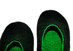 Mens Two Tone Felted Slippers Black Woods Indoors - Wool Walker  - 4
