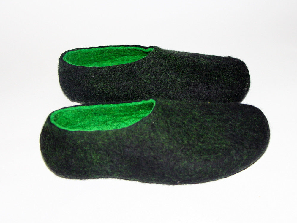 Mens Two Tone Felted Slippers Black Woods Indoors - Wool Walker  - 5