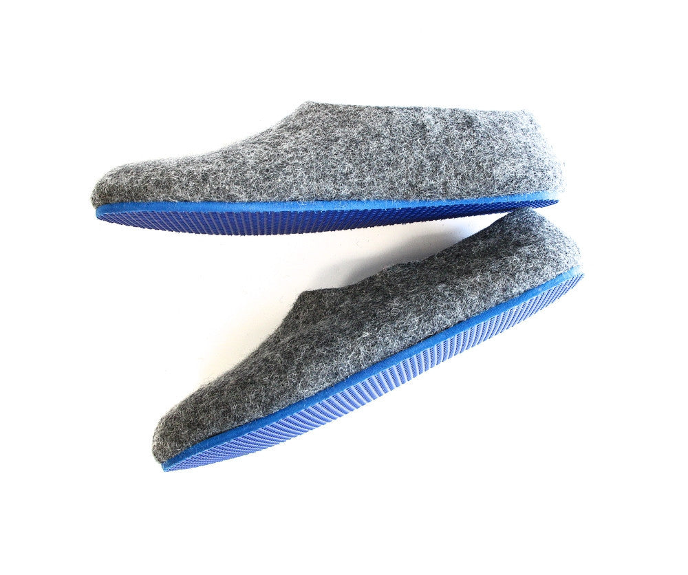 Mens Felt House Shoes Grey Contrast Color Sole - Wool Walker  - 2