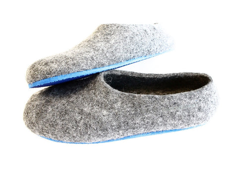 Mens Felt House Shoes Grey Contrast Color Sole
