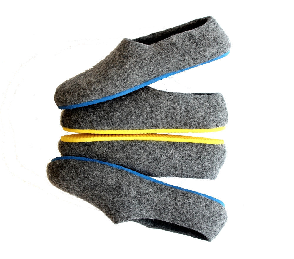 Mens Felt House Shoes Grey Contrast Color Sole - Wool Walker  - 1