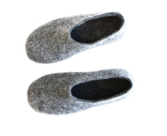 Mens Felt House Shoes Grey Contrast Color Sole - Wool Walker  - 3