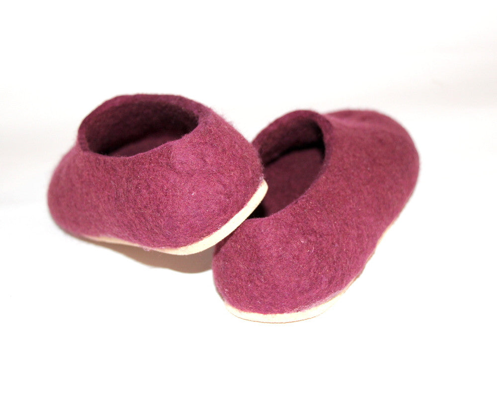 Womens Wool Felt Slippers Marsala with Cork Sole - Wool Walker  - 2
