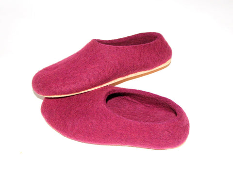 Womens Wool Felt Slippers Marsala with Cork Sole