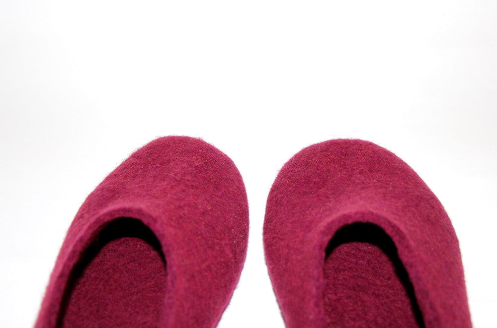 Womens Wool Felt Slippers Marsala with Cork Sole - Wool Walker  - 4