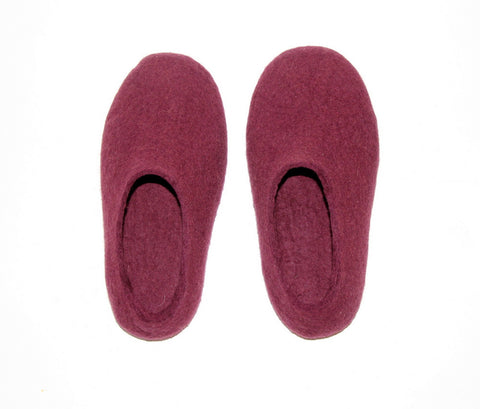 Womens Wool Felted Slippers Marsala Red Wine Contrast Sole