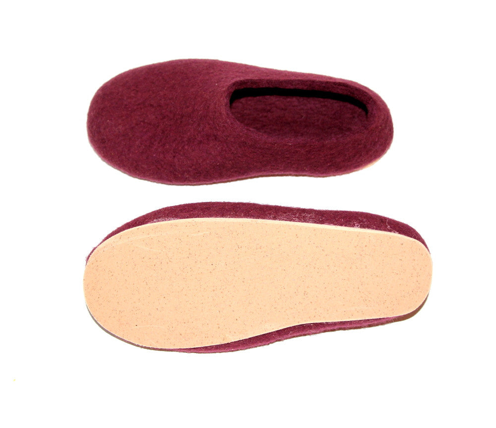 Womens Wool Felt Slippers Marsala with Cork Sole - Wool Walker  - 3