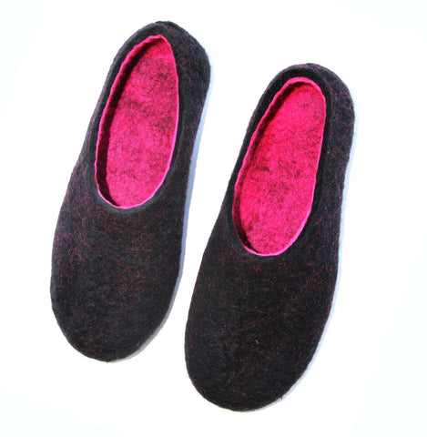 Womens Wool Felt Slippers Black Hot Pink Indoors