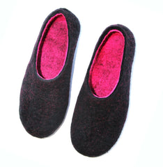 Womens Wool Felt Slippers Black Hot Pink Indoors - Wool Walker  - 3