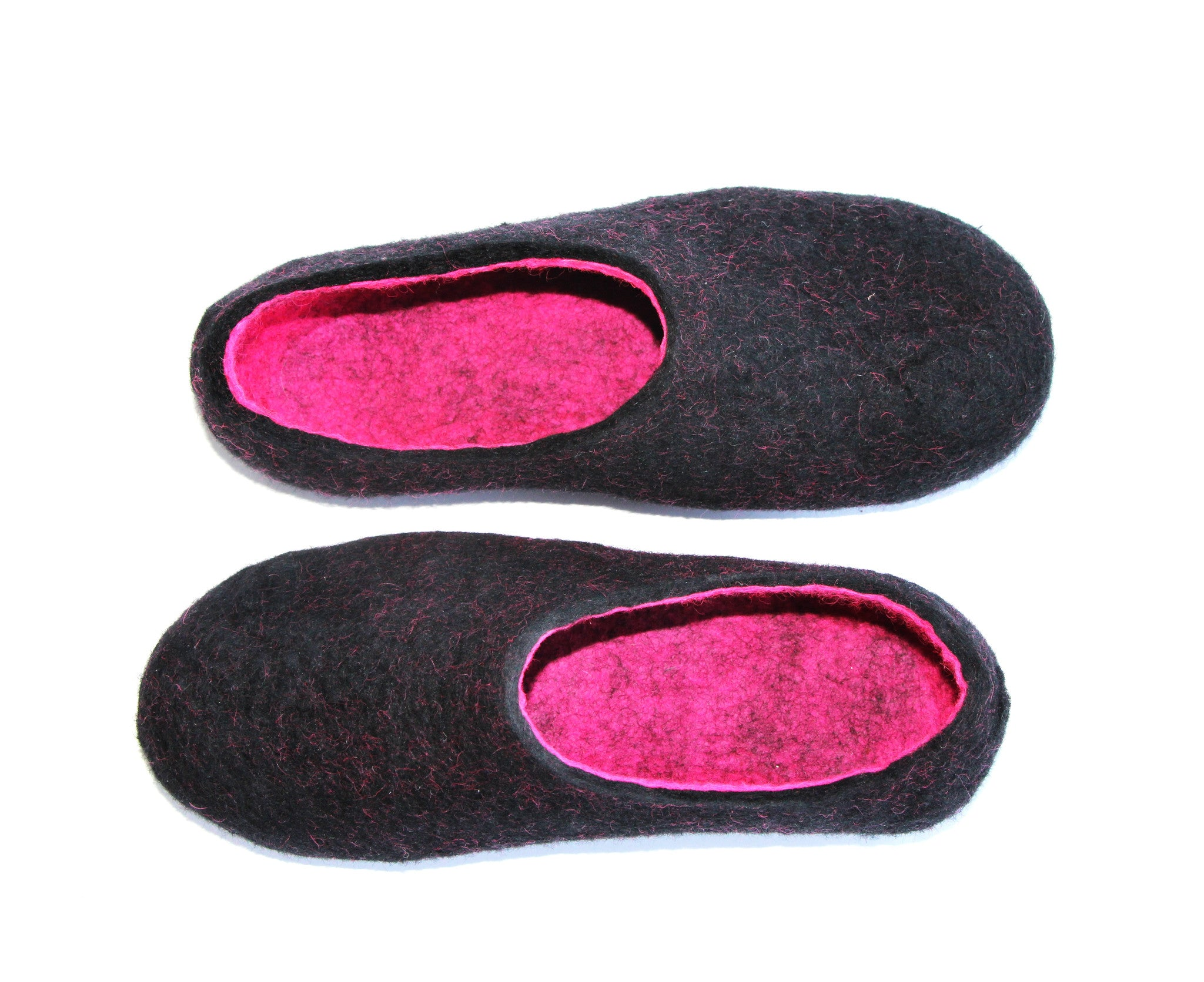 Womens Wool Felt Slippers Black Hot Pink Indoors - Wool Walker  - 5