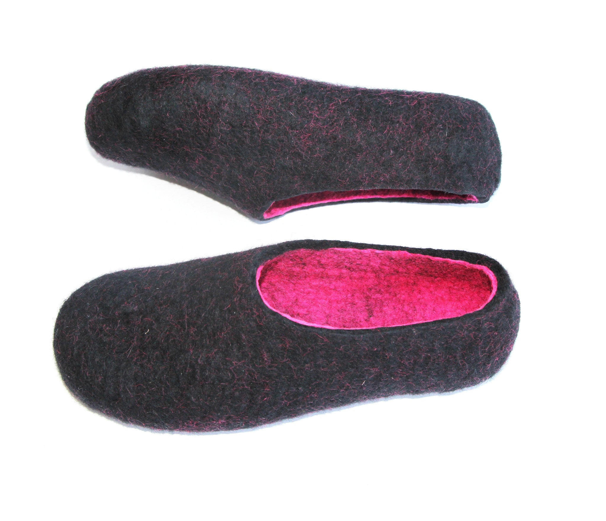 Womens Wool Felt Slippers Black Hot Pink Indoors - Wool Walker  - 4