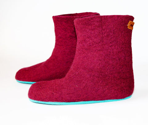 Womens Felted Boots Maroon Contrast Sole