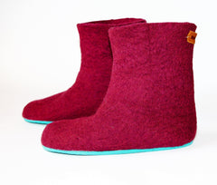 Womens Felted Boots Maroon Contrast Sole - Wool Walker  - 1