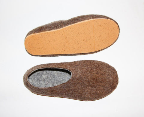 Mens Eco Friendly Felted Slippers Brown Bear