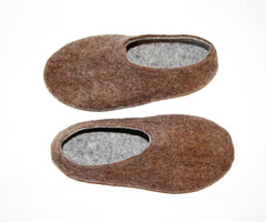 Mens Eco Friendly Felt Slippers Brown Rubber Sole - Wool Walker  - 3