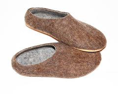 Mens Eco Friendly Felt Slippers Brown Rubber Sole - Wool Walker  - 1