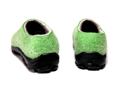 Organic Wool Felt Travel Shoes Green