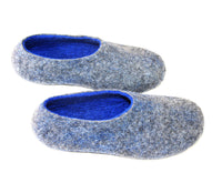 Mens Indoor House Shoes Grey Blue - Wool Walker  - 3