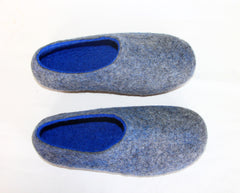 Mens Indoor House Shoes Grey Blue - Wool Walker  - 4
