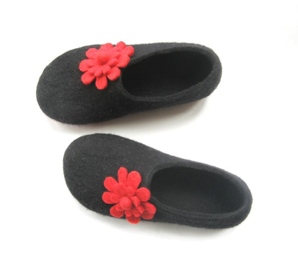 Womens Felted Slippers Black Floral Bloom Contrast Sole - Wool Walker  - 1