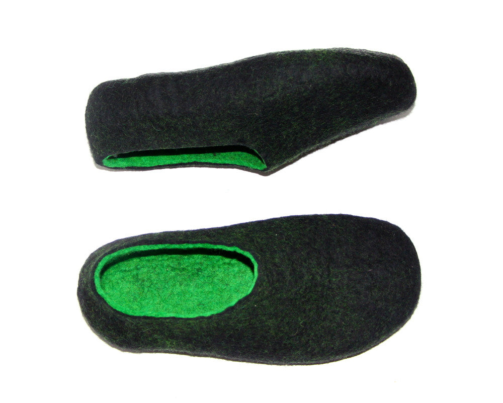 Mens Two Tone Felted Slippers Black Woods Indoors - Wool Walker  - 1