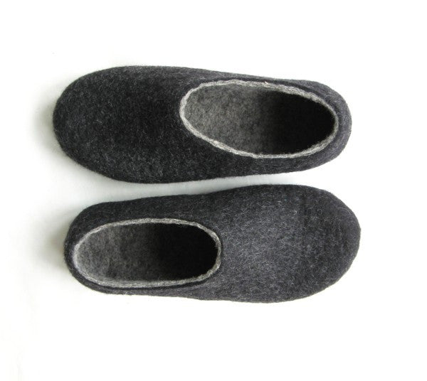 Womens Felt Slippers Charcoal Indoors - Wool Walker  - 1