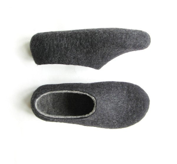 Womens Felt Slippers Charcoal Indoors - Wool Walker  - 3