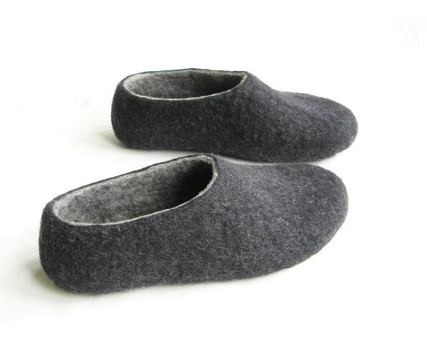 Womens Felt Slippers Charcoal Indoors - Wool Walker  - 4