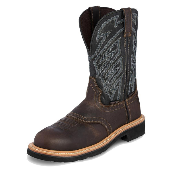 "Justin Original Work Boots 11"" Stampede Broad Round Toe CT WP"