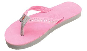 Rainbow Kids Crystal Premier Leather Trim Sandal - Pink With Grey
