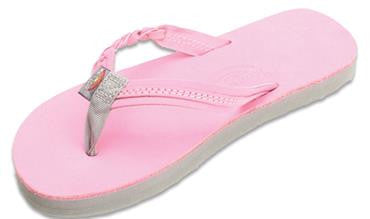 Rainbow Kids Flirty Braidy Single Layer Premier Leather With A Braided Strap Sandal - Pink/Grey