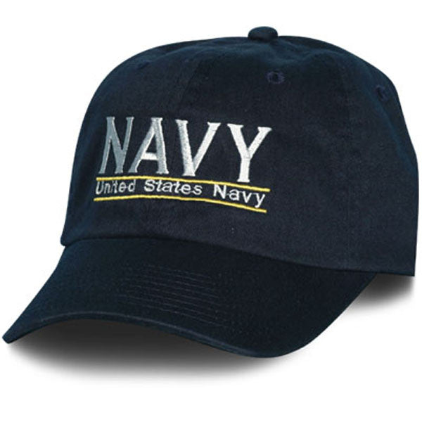 MP Hats: NAVY Letters United States Navy Bar Design Direct Embroidered Blue Ball Cap