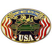 "PINS- ARMY, DON'T MESS W/USA (1-1/4"")"