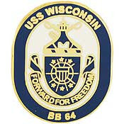 "PINS- USS, Navy WISCONSIN (1"")"