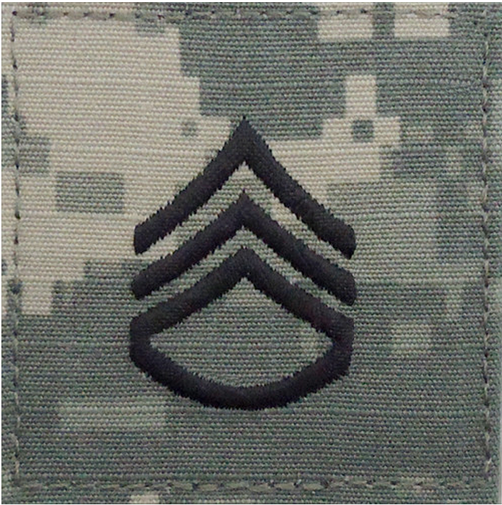 Patches: ARMY EMBROIDERED ACU RANK INSIGNIA: STAFF SERGEANT
