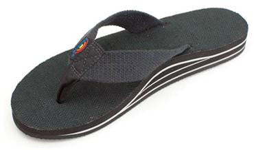 Rainbow Women's Double Layer Hemp Top & Strap w/ Arch Support Black