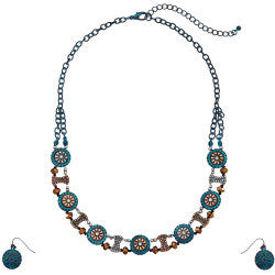 Flower Concho Necklace/Earring Set - Turquoise/Antiqued Gold