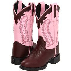 Old West Pink Childrens Girls Chestnut Leather Ultra Flex Cowboy Boots