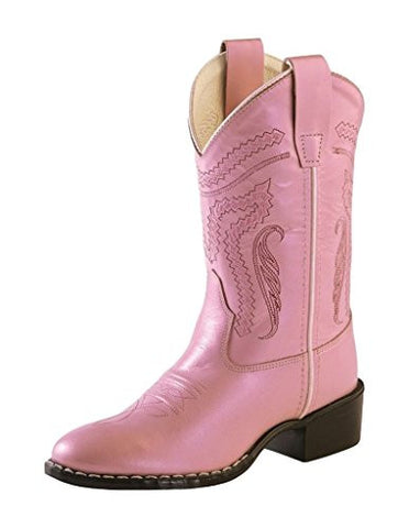 Old West Girls' Girl Western Boot Round Toe Pink